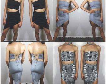 Handmade Asymmetrical Fitted Skirt // Black Grey Snakeskin