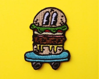 """Burger Skater 2"""" Iron On Embroidered Patch"""