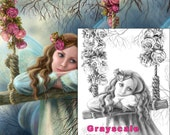 Coloring Page, Grayscale illustration for coloring book. fantasy fairy