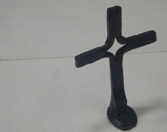 Hand Forged Rail Road Spike Cross   Blacksmith Made