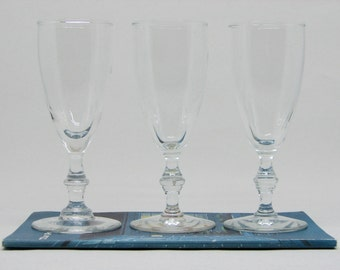 "Set of 3 Vintage Libbey Georgian ""Bamboo Stem"" Mini Flutes (Officially Whiskey Sour Glasses)"