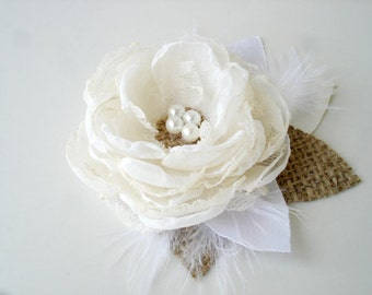 Rustic Bridal Hair Clip, Ivory Wedding Hair Piece Pearl Flower Hair Clip Burlap Wedding Hair Flower Bridal Headpiece Rustic