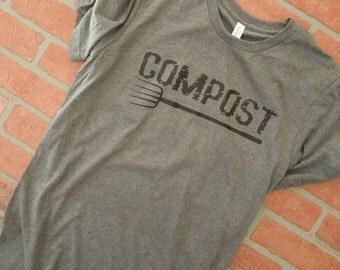 Compost Distressed Black Graphic T Shirt, Gardening T Shirt, Gardener T Shirt, Garden Fork T Shirt, Green Thumb, Garden Shirt