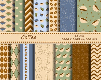 SALE Coffee digital paper pack, printable coffee beans backgrounds for scrapbooking - 14 jpeg papers with free clip art