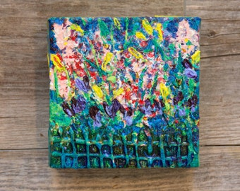 "Garden Gems -  Mini Original Mixed Media on canvas - 4""x4""x1"""