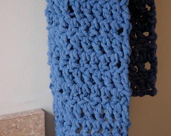 Crochet Snuggle Scarf - Blue