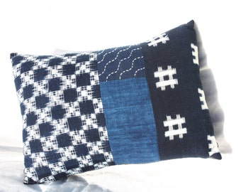 Vintage Japanese Indigo Cotton Cushion - Kasuri (Ikat) and Sashiko