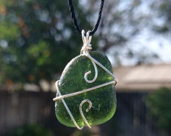 Genuine Sea Glass Pendant, Handmade, Olive Green Sea Glass, Beach Glass, Necklace Pendant