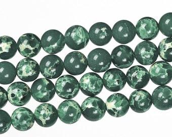 Green Imperial Jasper, Emperor stone, Imperial Jasper Beads, Round Beads, Jade Beads, DIY Jewelry, 8 10 mm, (OB030)