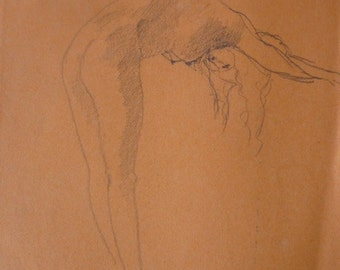 Woman figurative, woman, lines, life drawing, a study, pencil, coloured paper, graphite