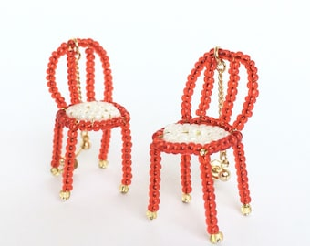 red,beads,earrings,unique,chair,cute,swing