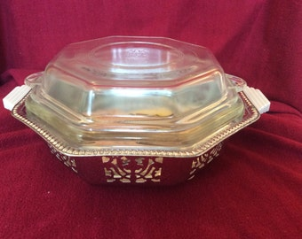 Phoenix Clear Glass Octagonal Casserole Dish with Lid and Metal Table Stand from 1950's