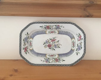 Antique Spode Copeland 'Nigel' Oblong Platter - hand painted flowers, brown transfer from 1907