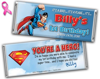 Superman Candy Bar Wrappers Printed or Digital File, Superman Birthday Candy Wrapper, Superman Hershey Bar Wrapper, Superman Candy Wrappers