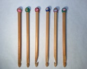 Crochet Hook - hand carved & painted folk style