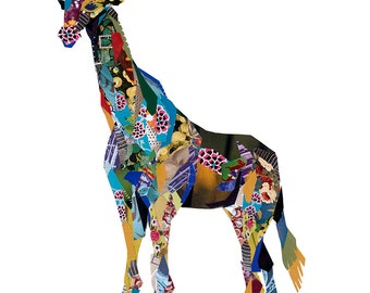 Limited edition print from an original collage of a Giraffe