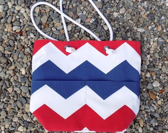 Large Red White and Blue Beach Bag - Beach Tote - Large Beach Bag - Fourth of July Bags - July 4th Picnic Bag - Beach Bags -July Fourth Tote