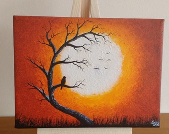 Abstract Original Acrylic on Mini Canvas Bird in a Tree Whimsical Silhouette Orange Yellow with Small Mini Easel Painting Art