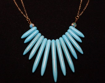 Turquoise Fan Necklace, 1.4mm 14K Gold Cable Chain