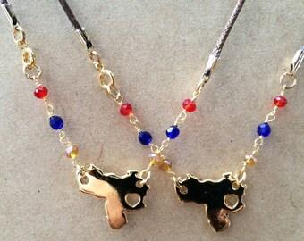 Venezuela necklace, I love Venezuela, Collar de Venezuela, Venezuelan map, Mapa de Venezuela, Amo Venezuela, Mapa tricolor, tricolor