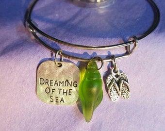 Green sea glass shell