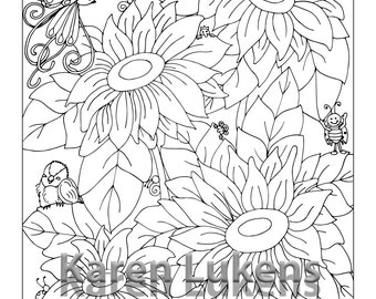 Happy Sunflowers, 1 Adult Coloring Book Page, Printable Instant Download