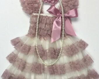 vintage dusty rose dress