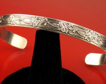 Flower Pattern Sterling Silver Cuff Bracelet