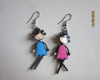 Earrings with colorful little girl