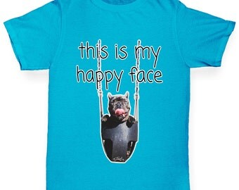 Boy's This Is My Happy Face Dog T-Shirt