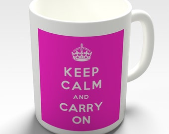 Pink Keep Calm And Carry On Ceramic Novelty Gift Mug