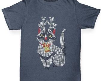 Boy's Christmas Kitty Rhinestone Diamante T-Shirt