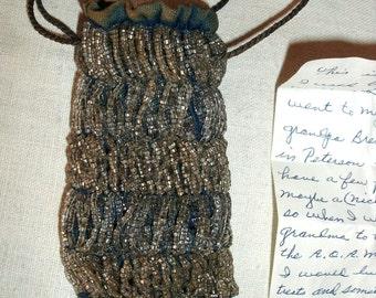 Vintage Antique Beaded Drawstring Handbag
