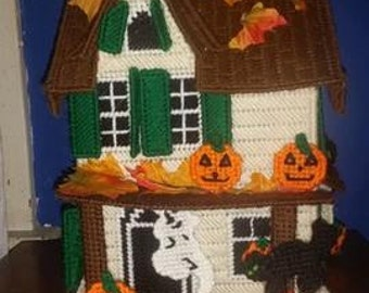 Homemade Haunted House - Plastic Canvas