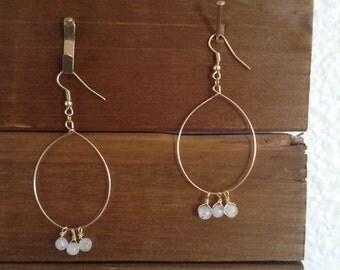 Moonstone hoop earrings