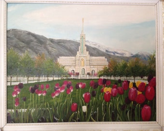 Mount Timpanogas Temple Hand Brushed Oil Painting  approx. 22 x 16 inches