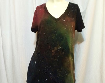 Women's V-Neck Galaxy Tee, Large (12-14)