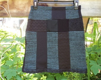 Black and turquoise pachtwork with lace skirt. Original skirt handmade.