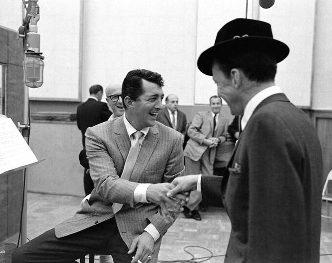 Dean Martin & Frank Sinatra in the Recording Studio Rat Pack - 8X10 Photo (AA-233)