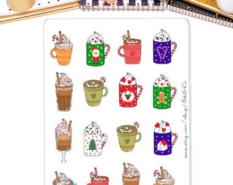 Hot Chocolate, Latte, Winter Coffee Drink, Coffee Time, Coffee Date Planner Stickers for Erin Condren, Mambi, Personal Planner and many more