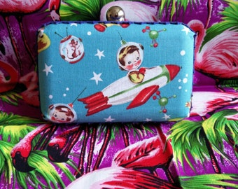Retro space kids box clutch