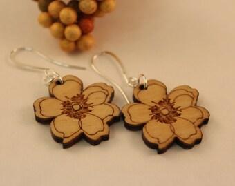 Cliffrose wooden earring