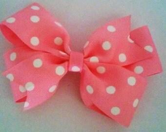 Pink and White Poka-Dot Pinwheel Hairbow