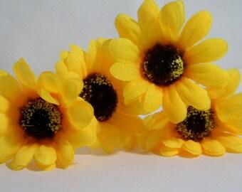 Set of 4 Yellow Sunflower Hair pins