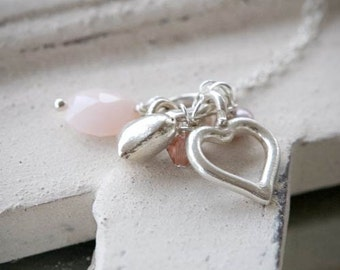 Pink Opal and Silver Heart Necklace