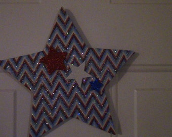 Decoupage Star 4th of July