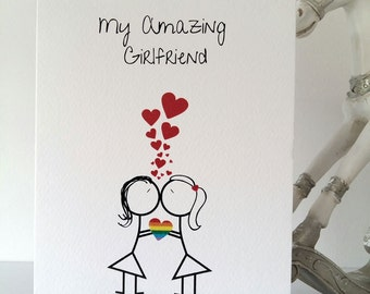 Gay Girlfriend Happy Birthday, girlfriend, birthday, gay, samesex, mrs&mrs, lesbian, love, lgbt, handmade, ireland