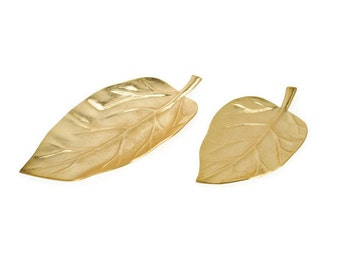 Decorative Tray, Serving Tray, Gold Leaf Tray, Leaf Tray, Set of 2