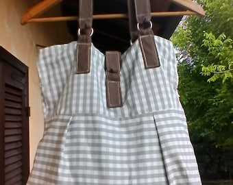 Brown and white  fabric  bag
