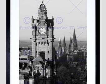 Scottish Photo Cityscape Edinburgh Spires Bw Art Print Poster FEMP3907B